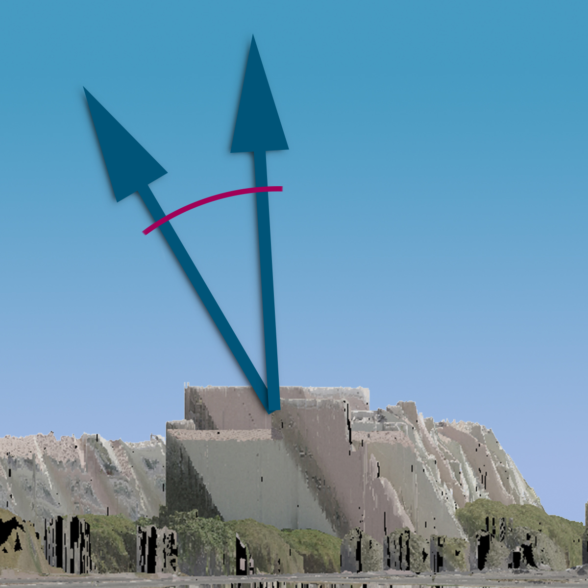 Elevation view of the skewed 3D model (skew angle approximately 30°).