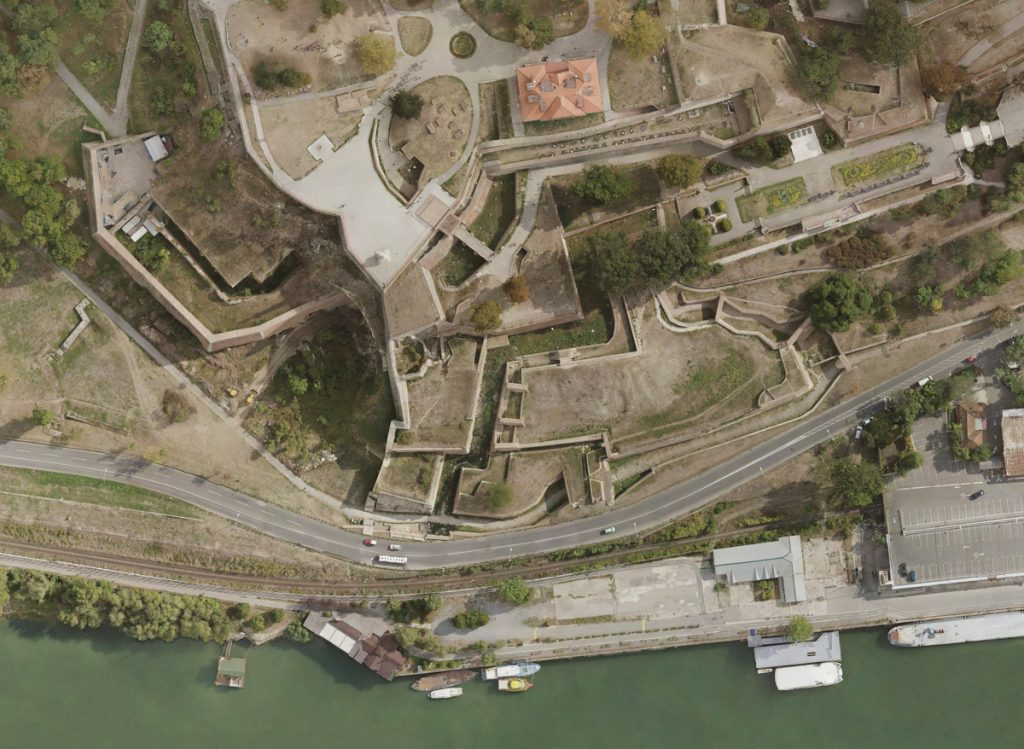 Orthomosaic map of old city walls by the river Danube. Aerial Mapping: Map generated with a ground sampling resolution of 3.5cm/px.