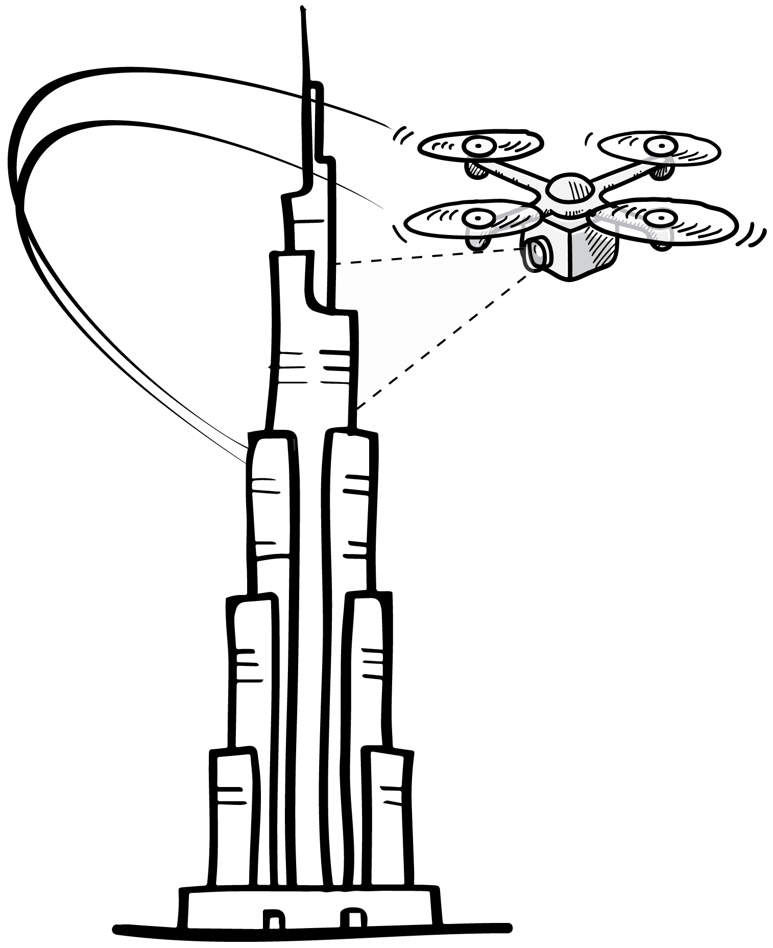 Aerial 3D scanning. Drone flying around Burj Khalifa building tower in Dubai.