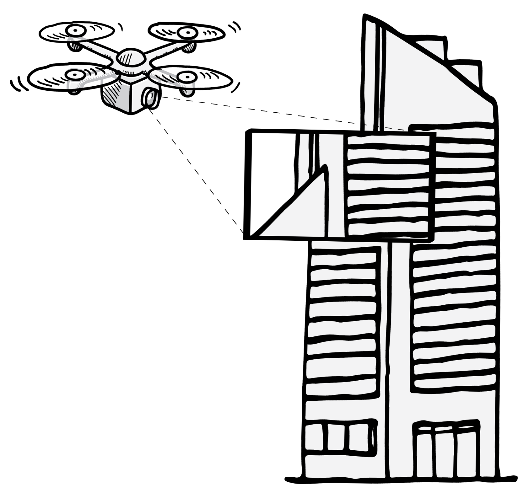Aerial Photography and Aerial Filming diagram. UAV/RPAS/Drone flying close to a building to take photos and capture video footage.